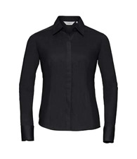 Russell Collection Women's long sleeve polycotton easycare fitted poplin shirt