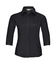 Russell Collection Women's ¾ sleeve polycotton easycare fitted poplin shirt